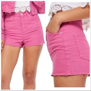 Topshop High Waisted Cut Off Mom Shorts Pink 4